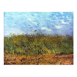 Van Gogh: Campo de trigo con las amapolas y la alo Postales