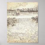 Van Gogh - campo de trigo con las gavillas y Arles Impresiones