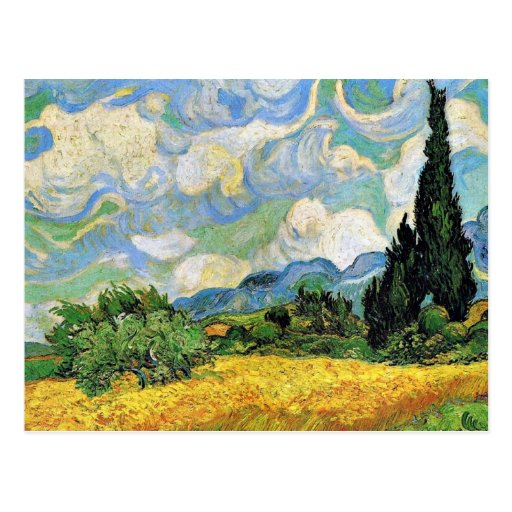 Van Gogh - campo de trigo con los cipreses Tarjeta Postal