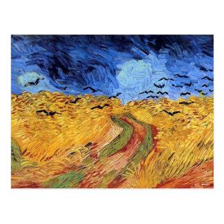 Van Gogh - campo de trigo con los cuervos negros Tarjeta Postal