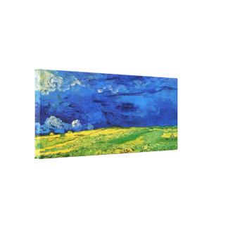 Van Gogh; Campo de trigo debajo del cielo nublado Impresiones En Lona