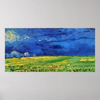 Van Gogh Campo de trigo debajo del cielo nublado Posters