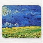 Van Gogh; Campo de trigo debajo del cielo nublado Tapetes De Raton