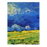 Van Gogh; Campo de trigo debajo del cielo nublado Postal