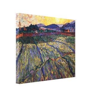 Van Gogh - campo incluido con el sol naciente Impresión En Lona Estirada