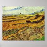 Van Gogh - campo y labrador y molino Impresiones