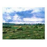 Van Gogh; Campos de trigo con las pilas, granja Tarjeta Postal