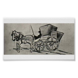 Van Gogh - Carriage Drawn by a Horse Posters