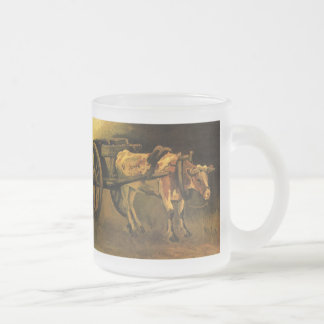 Van Gogh Cart with Red White Ox, Vintage Fine Art 10 Oz Frosted Glass Coffee Mug
