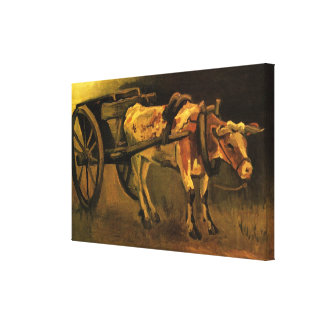 Van Gogh Cart with Red White Ox, Vintage Fine Art Gallery Wrap Canvas