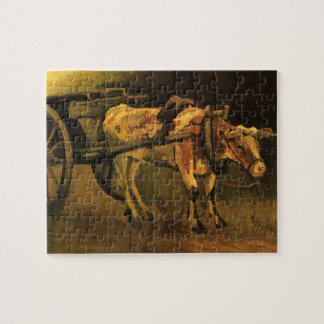 Van Gogh Cart with Red White Ox, Vintage Fine Art Jigsaw Puzzle
