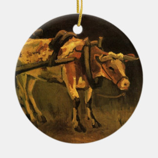 Van Gogh Cart with Red White Ox, Vintage Fine Art Ornaments