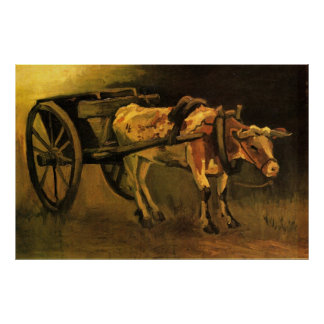 Van Gogh Cart with Red White Ox, Vintage Fine Art Poster