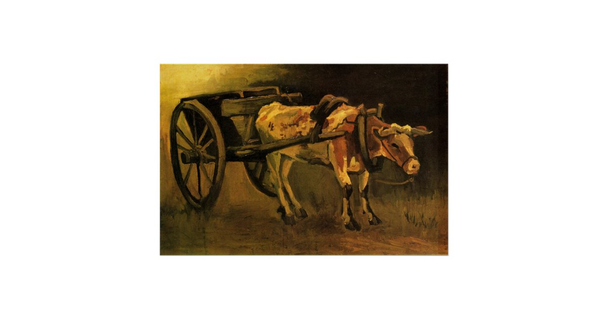 Cart With Red And White Ox Painting by Vincent Van Gogh