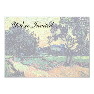 Van Gogh - Chateau Of Auvers At Sunset 5x7 Paper Invitation Card