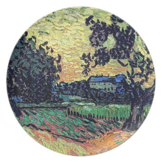 Van Gogh - Chateau Of Auvers At Sunset Dinner Plates