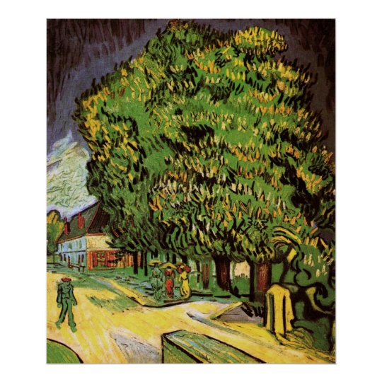 Van Gogh Chestnut Trees in Blossom, Fine Art Poster