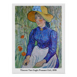 Van Gogh: Chica campesino, 1890. Poster del arte
