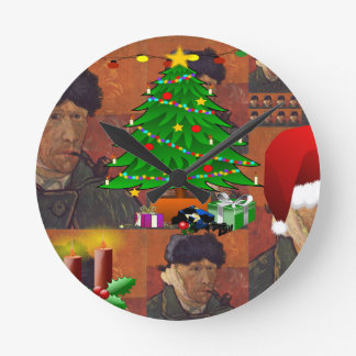van gogh christmas round clock