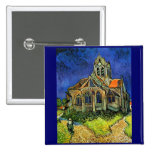 Van Gogh Church at Auvers (F789) Fine Art Buttons