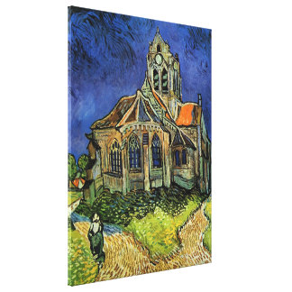 Van Gogh Church at Auvers, Vintage Architecture Canvas Print