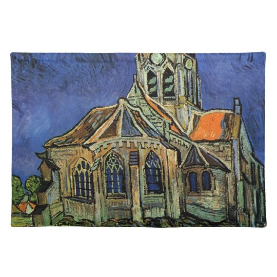 Van Gogh Church at Auvers, Vintage Architecture Cloth Placemat