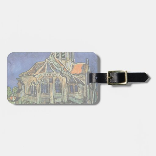 Van Gogh Church at Auvers, Vintage Architecture Bag Tags
