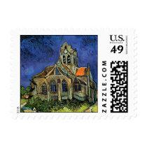 Van Gogh Church at Auvers, Vintage Architecture Postage