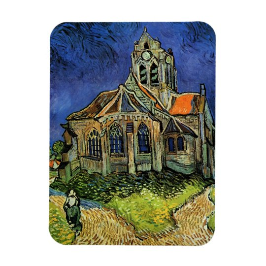 Van Gogh Church at Auvers, Vintage Architecture Rectangular Photo Magnet
