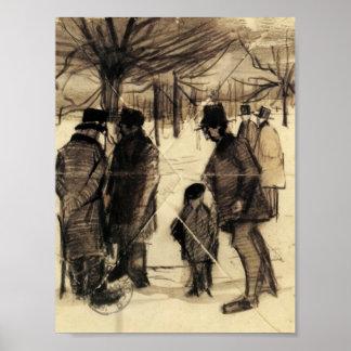 Van Gogh - cinco hombres y niño en la nieve Impresiones
