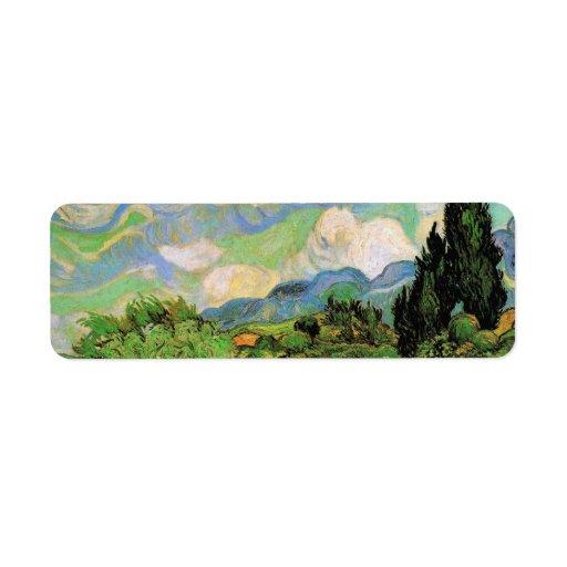Van Gogh; Cipreses del campo de trigo w en Haute G Etiqueta De Remite