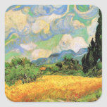 Van Gogh; Cipreses del campo de trigo w en Haute G Calcomanías Cuadradases