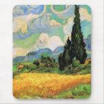 Van Gogh; Cipreses del campo de trigo w en Haute G Tapete De Ratón