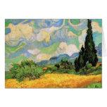 Van Gogh; Cipreses del campo de trigo w en Haute G Tarjetón