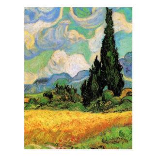Van Gogh; Cipreses del campo de trigo w en Haute G Postal