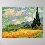 Van Gogh; Cipreses del campo de trigo w en Haute Posters