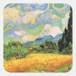 Van Gogh; Cipreses del campo de trigo w en Haute Calcomanías Cuadradas Personalizadas