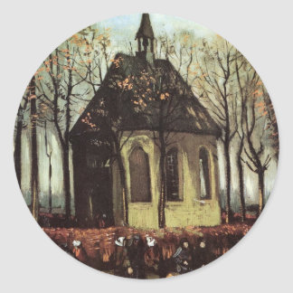 Van Gogh; Congregación que sale de la iglesia Pegatina Redonda