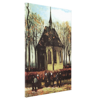 Van Gogh Congregation Leaving the Reformed Church Canvas Print