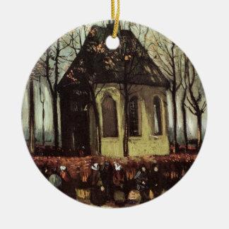 Van Gogh Congregation Leaving the Reformed Church Ceramic Ornament