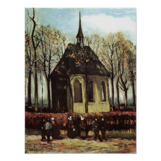 Van Gogh- Congregation Leaving the Reformed Church Poster