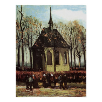 Van Gogh; Congregation Leaving the Reformed Church Poster