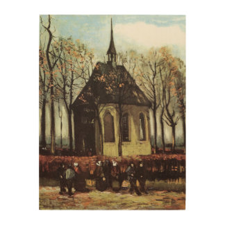 Van Gogh; Congregation Leaving the Reformed Church Wood Wall Art