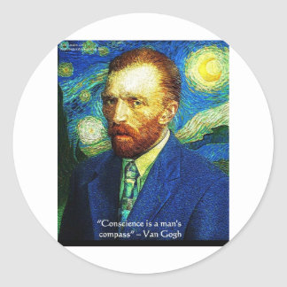 "Van Gogh ""Conscience Compass"" Quote Gifts Tees Etc Classic Round Sticker"