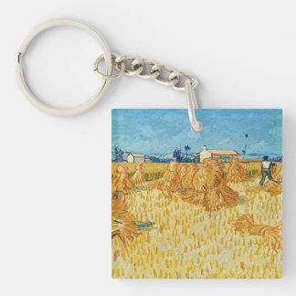 Van Gogh; Cosecha en Provence Llavero Cuadrado Acrílico A Una Cara