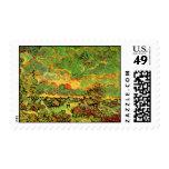 Van Gogh Cottages Cypresses Reminiscence N (F675) Stamp