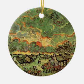 Van Gogh Cottages Cypresses Reminiscence of North Ceramic Ornament