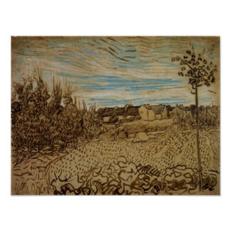 Van Gogh - Cottages with a Woman Working Poster