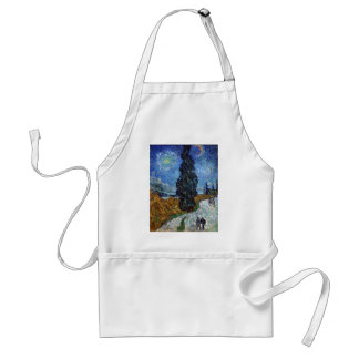 Van Gogh Country road in Provence by night Adult Apron