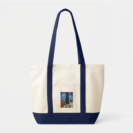 Van Gogh Country road in Provence by night Tote Bags